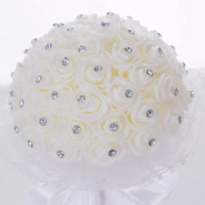 Luxury Pure White Beading Quinceanera Bouquet with Lace Ribbon_4
