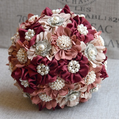 Silk Rose Pearls Quinceanera Bouquet in Three Tune Colors_2