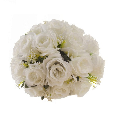White Rose Artificial Quinceanera Bouquet with Handle_6