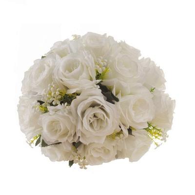 Ramo de novia artificial rosa blanca con mangas_6
