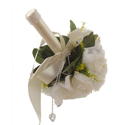 White Rose Artificial Quinceanera Bouquet with Handle_3