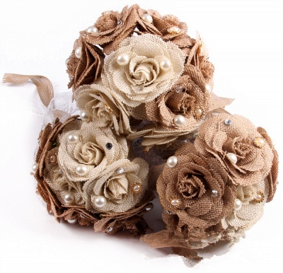 Brown Bouquet for Quinceanera with ribbon strings_4