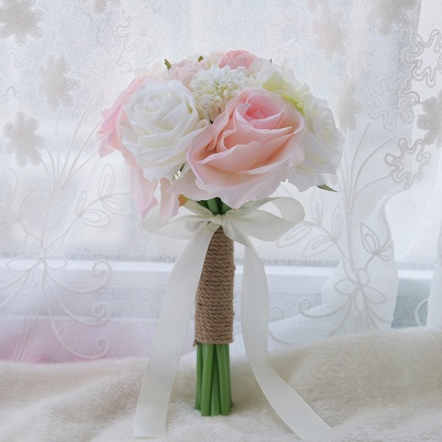 Real Touch Artificial Peony and Rose Quinceanera Bouquet_6