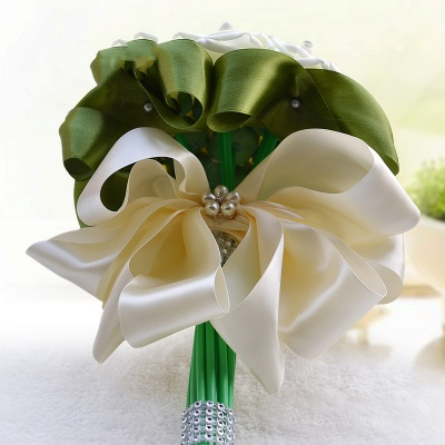 Ivory Silk Beading Rose Quinceanera Bouquet with Rainbow Ribbons_12