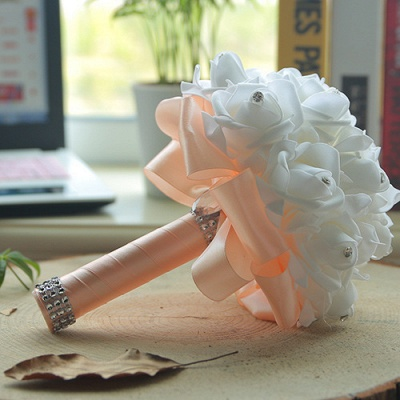 White Silk Quinceanera Bouquet with Rainbow Handles_4