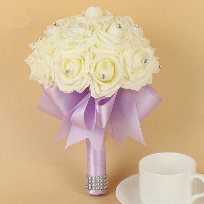 Ivory Silk Beading Rose Quinceanera Bouquet with Rainbow Ribbons_7