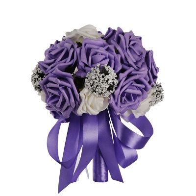 Two Colors Silk Flowers Quinceanera Bouquet with Ribbon_4