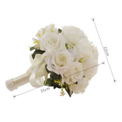 White Rose Artificial Quinceanera Bouquet with Handle_7