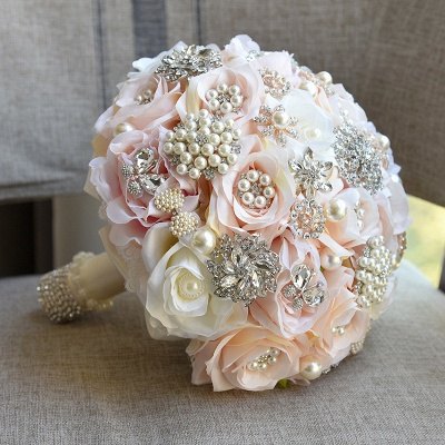 Sparkly Crystal Beading Silk Rose Quinceanera Bouquet in White and Romantic Pink_1