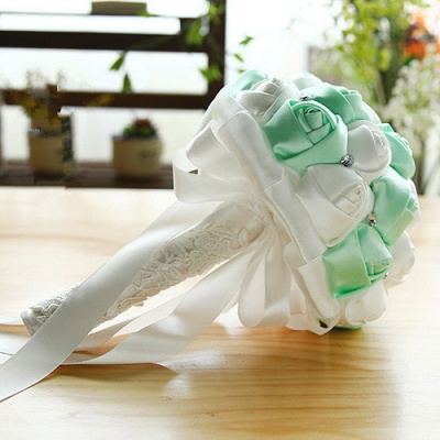 Two Colors Silky Rose Bouquet for Quinceanera_9