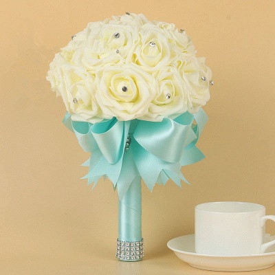Ivory Silk Beading Rose Quinceanera Bouquet with Rainbow Ribbons_8