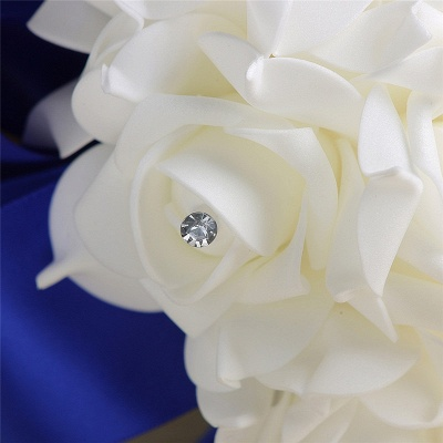 White Silk Rose Crystal Beading Bouquet in Rainbow Handles_11