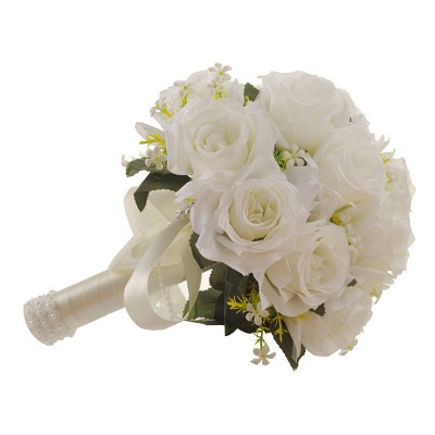 White Rose Artificial Quinceanera Bouquet with Handle_4