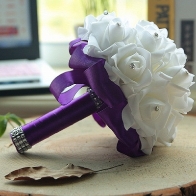 White Silk Quinceanera Bouquet with Rainbow Handles_7