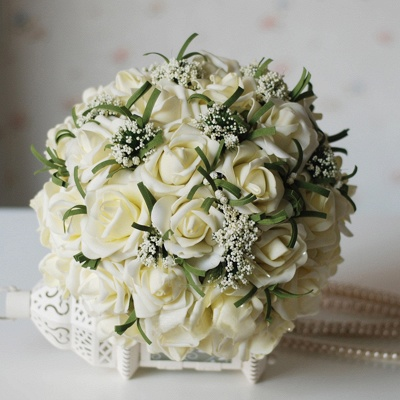 Silk Rose Quinceanera Bouquet in Ivory with Ribbons_1
