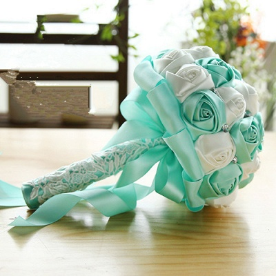 Two Colors Silky Rose Bouquet for Quinceanera_10