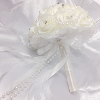 Ivory Rose Bouqet for Quinceanera with Beading Strings_5