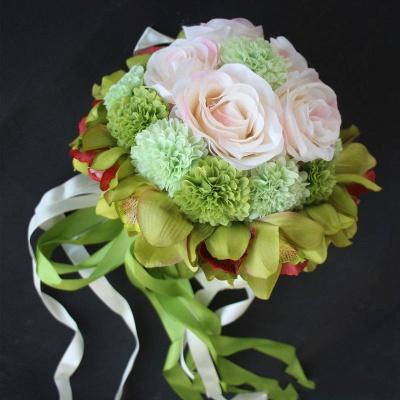 Ramo de novia de seda y orquídeas artificiales Rose de seda_6
