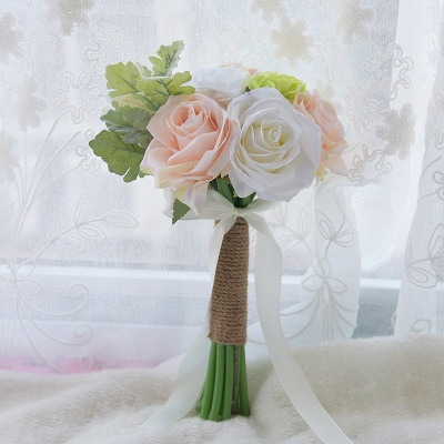 Real Touch Artificial Peony and Rose Quinceanera Bouquet_1