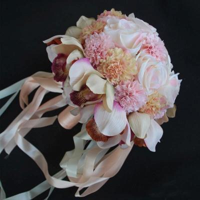 Ramo de novia de seda y orquídeas artificiales Rose de seda_4