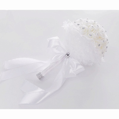 Luxury Pure White Beading Quinceanera Bouquet with Lace Ribbon_3