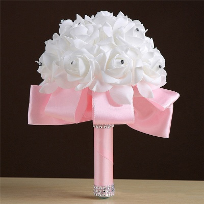 White Silk Rose Crystal Beading Bouquet in Rainbow Handles_3