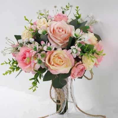 Two colors Artificial Real Touch Rose Bouquet for Quinceanera_3