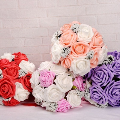 Two Colors Silk Flowers Quinceanera Bouquet with Ribbon_10