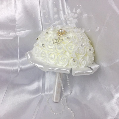Ivory Silk Rose Bouquet for Quinceanera with Crystals