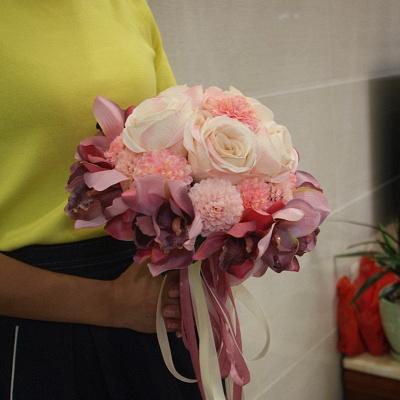 Ramo de novia de seda y orquídeas artificiales Rose de seda_1