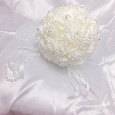 Ivory Rose Bouqet for Quinceanera with Beading Strings_4