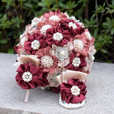 Silk Rose Pearls Quinceanera Bouquet in Three Tune Colors_9