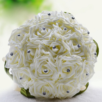 Ivory Silk Beading Rose Quinceanera Bouquet with Rainbow Ribbons_14