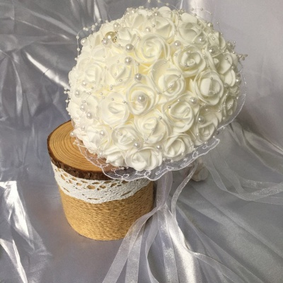 Silk Ivory Rose Quinceanera Bouquet with Lace ribbons_4