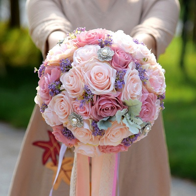 Ramo de novia Rose de seda artificial en dos tonos rosa_3