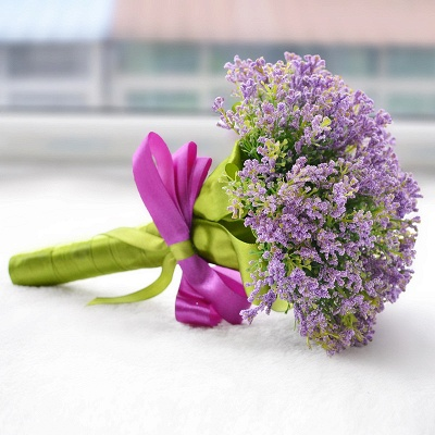 Luxury Real Touch Artificial Lavender Quinceanera Bouquet_3