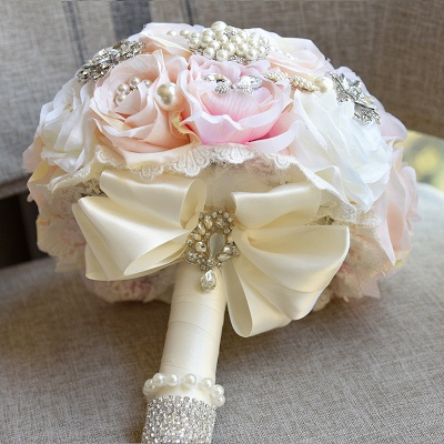 Sparkly Crystal Beading Silk Rose Quinceanera Bouquet in White and Romantic Pink_3
