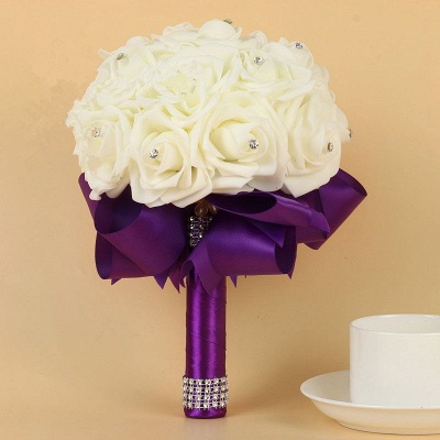Ivory Silk Beading Rose Quinceanera Bouquet with Rainbow Ribbons_6
