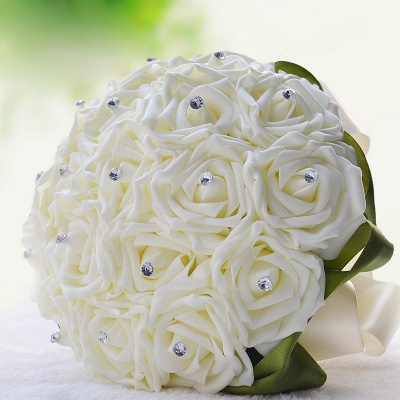 Ivory Silk Beading Rose Quinceanera Bouquet with Rainbow Ribbons_13