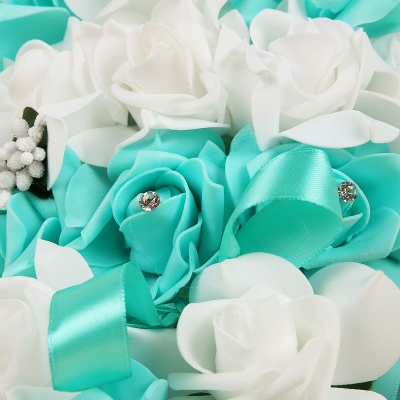 Rainbow Silk Rose Quinceanera Bouquet with Ribbons_11
