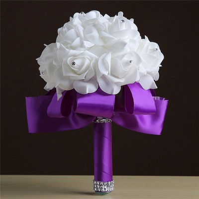 White Silk Rose Crystal Beading Bouquet in Rainbow Handles_5