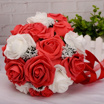 Two Colors Silk Flowers Quinceanera Bouquet with Ribbon_3