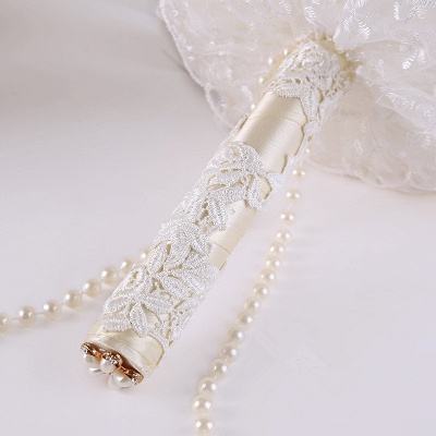 Luxury Pearls Lace Silk Rose Bouquet for Quinceanera_4