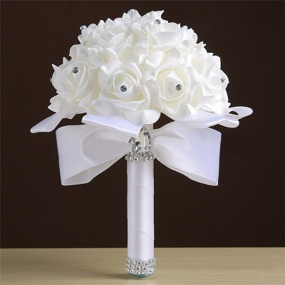 White Silk Rose Crystal Beading Bouquet in Rainbow Handles_1