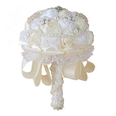 Luxury White Silk Rose Bouquet with Crystal Beading_2
