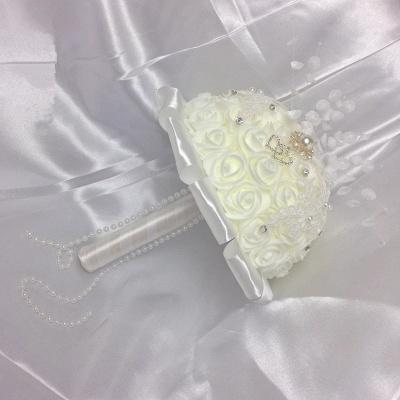 Ramo rosa marfil de seda para bodas con cristales_4