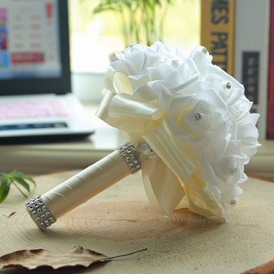 White Silk Quinceanera Bouquet with Rainbow Handles_2