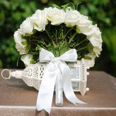 Silk Rose Quinceanera Bouquet in Ivory with Ribbons_5
