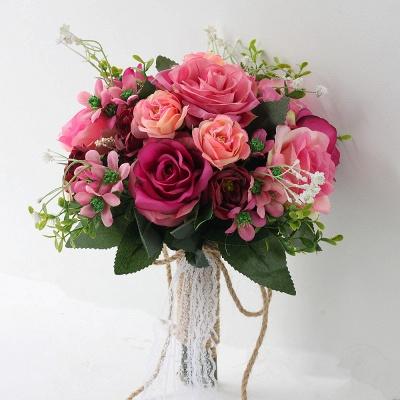 Ramo color de rosa del tacto real artificial de dos colores para casarse_2