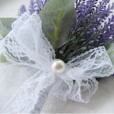Real Touch Sage Flowers Bouquet with Lace Ribbon_5